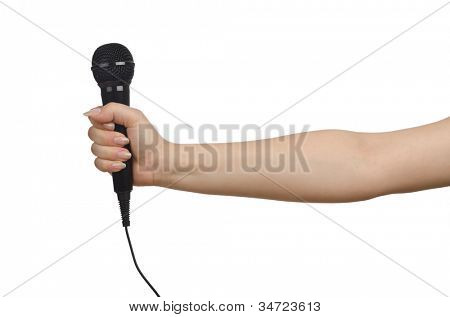 Hand with microphone on white