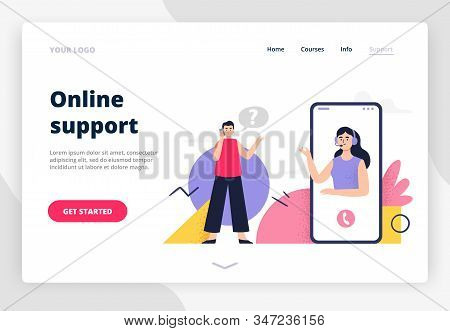 Landing Page On Online Support Theme. A Woman Answers Phone Calls, Chatting, Help Clients And Get Fe