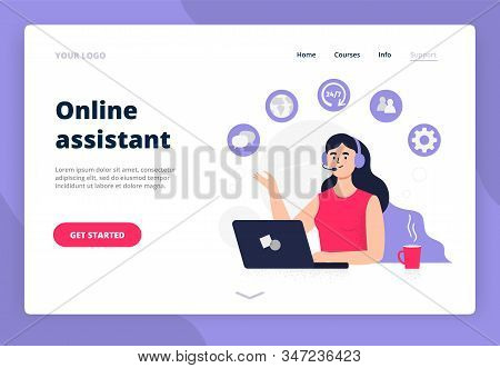 Landing Page On Online Assistant Theme. Woman Answers Phone Calls, Chatting, Help Clients And Get Fe