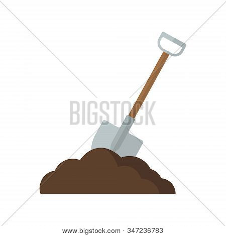 Vector Illstration Of Shovel With Earth Icon. Flat Design. Isolated.
