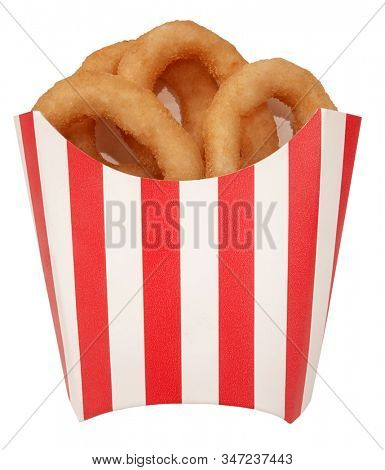 Onion rings tasty fast food in red white striped box