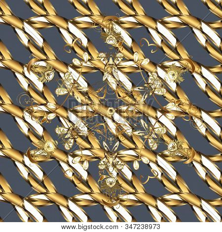 Seamless Golden Pattern. Blue And Brown Colors With Golden Elements. Gold Metal With Floral Pattern.