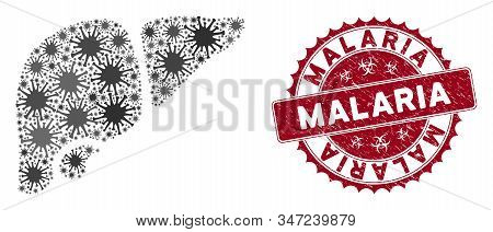 Coronavirus Mosaic Liver Icon And Rounded Grunge Stamp Seal With Malaria Caption. Mosaic Vector Is C