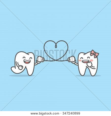 Tooth Boy Talk With Tooth Girl Together By Can Phone And String Shape Like A Heart Illustration Char