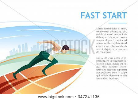 Sprinter Fast Start On Racetrack Against City Background. Modern Vector Illustration Concept For Pre