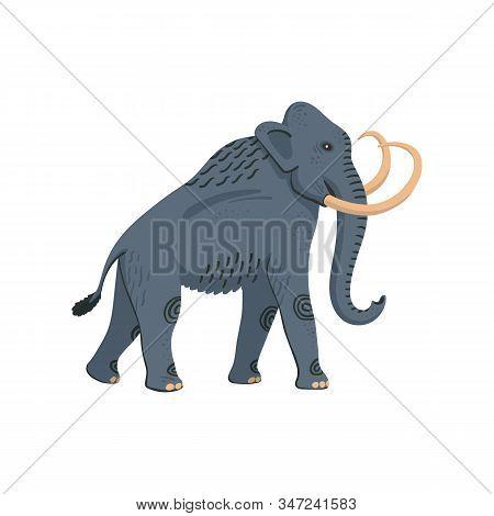 Extinct Animals. Columbian Mammoth. Prehistoric Extinct American Elephant Flat Style Vector Illustra