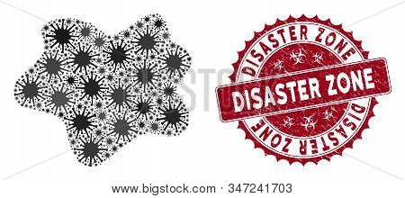 Coronavirus Mosaic Dirt Spot Icon And Round Grunge Stamp Seal With Disaster Zone Phrase. Mosaic Vect