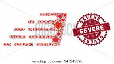 Coronavirus Collage Rush Effect Icon And Rounded Grunge Stamp Seal With Severe Text. Mosaic Vector I