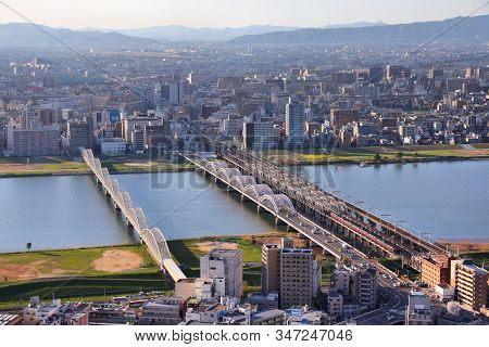 Osaka, Japan - April 27, 2012: Cityscape View In Osaka, Japan. Osaka Is The 3rd Largest City In Japa