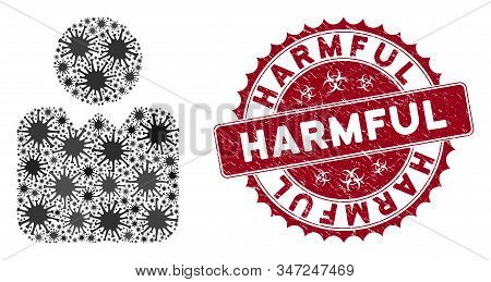 Coronavirus Mosaic Person Icon And Rounded Rubber Stamp Seal With Harmful Caption. Mosaic Vector Is