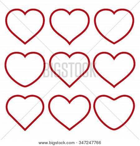 Set Of Vector Red Hearts On White Background