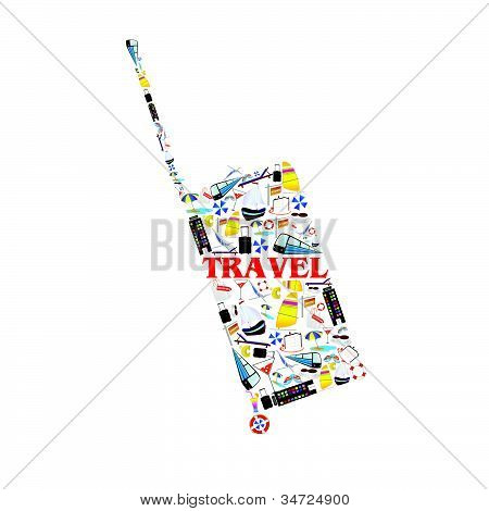Bag Illustration With Travel Symbol Vector Illustration