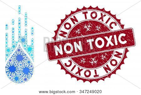 Coronavirus Mosaic Falling Drop Icon And Rounded Corroded Stamp Seal With Non Toxic Phrase. Mosaic V