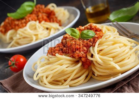 Spaghetti Pasta With Bolognese Sauce With A Fork Close Up