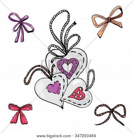 Collection Of Hand Drawn Sketch Of  Sewing Hearts And Bows.. Color Elements Isolated On White Backgr