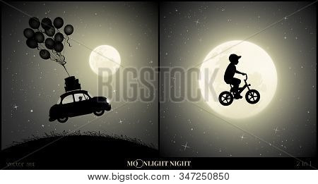 Set Of Vector Illustration With Silhouette Of Boy On Bike Flying In Sky On Moonlit Night. Retro Car