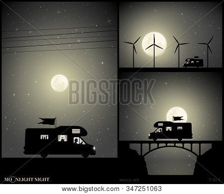 Set Of Vector Illustration With Silhouette Of Man Traveling In Camper On Moonlit Night. Retro Car On