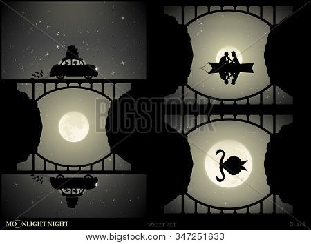 Set Of Vector Illustration With Silhouettes Of People And Bridge On Moonlit Night. Woman And Dog Tra