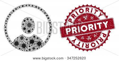 Coronavirus Mosaic Rounded User Portrait Icon And Round Grunge Stamp Seal With Priority Text. Mosaic