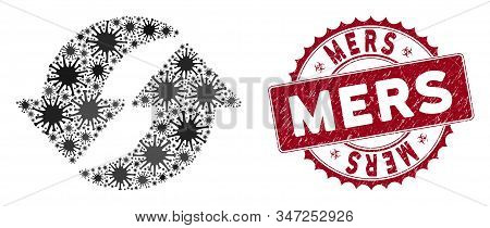 Coronavirus Mosaic Refresh Icon And Round Grunge Stamp Watermark With Mers Phrase. Mosaic Vector Is
