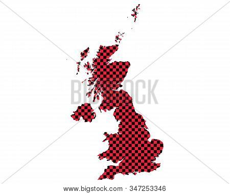 Detailed And Accurate Illustration Of Map Of Great Britain In Checkerboard Pattern