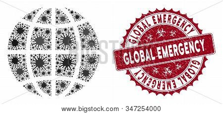 Coronavirus Collage Globe Icon And Round Rubber Stamp Seal With Global Emergency Text. Mosaic Vector