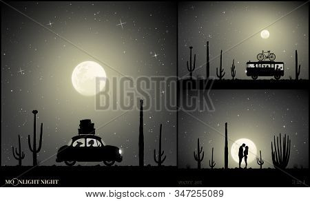 Set Of Vector Illustration With Silhouettes Of People And Retro Cars On Moonlit Night. Camper Betwee
