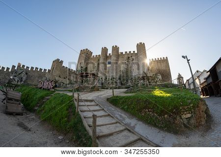 Obidos, Portugal - January 19, 2020: Morning View Of The Obidos Castle, Wide Angle Fisheye Lens Phot