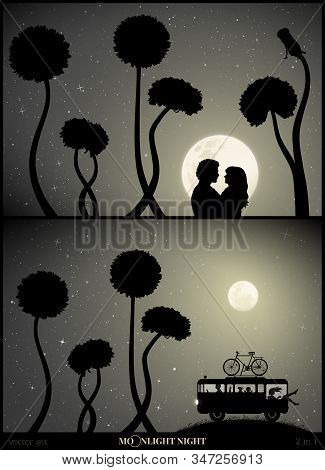 Set Of Vector Illustration With Silhouettes Of People And Dandelions On Moonlit Night. Lovers And Fl