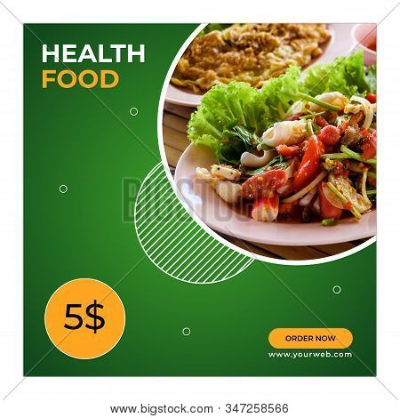 Social Media Post for Food Promotion offer poster , Healthy Food Social Media Post . Food social media web banner design template, Food Social media and web square banner design template .