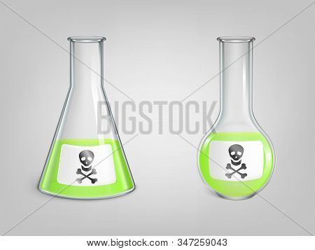 Flasks With Poison And Skull With Bones Danger Sign On Label Set. Magic Potion, Chemical Green Toxic