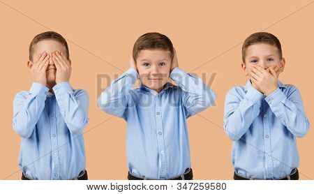 Little Child Boy On Beige Background. I See Nothing, Hear Nothing, Nothing Will Not Tell Anyone