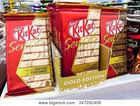 Samara, Russia - January 26, 2020: Different Fresh Kitkat Chocolate Packages On Supermarket Shelf
