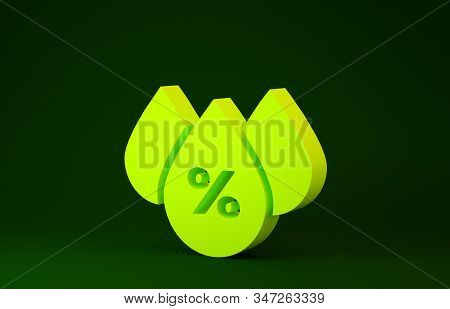 Yellow Water Drop Percentage Icon Isolated On Green Background. Humidity Analysis. Minimalism Concep