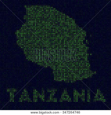 Digital Tanzania Logo. Country Symbol In Hacker Style. Binary Code Map Of Tanzania With Country Name
