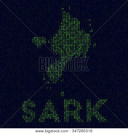 Digital Sark Logo. Island Symbol In Hacker Style. Binary Code Map Of Sark With Island Name. Vibrant