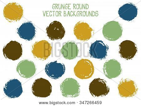 Vector Grunge Circles Design. Watercolor Stamp Texture Circle Scratched Label Backgrounds. Circular