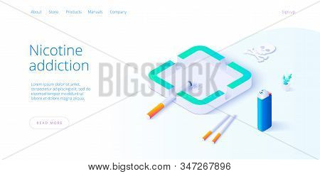 Nicotine Dependence Or Smoking Addiction Illustration In Isometric Vector Design. Cigarette Package