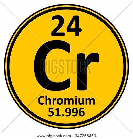 Periodic Table Element Chromium Icon On White Background. Vector Illustration.