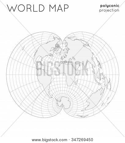 World Map. Globe In Polyconic Projection, With Graticule Lines Style. Outline Vector Illustration.