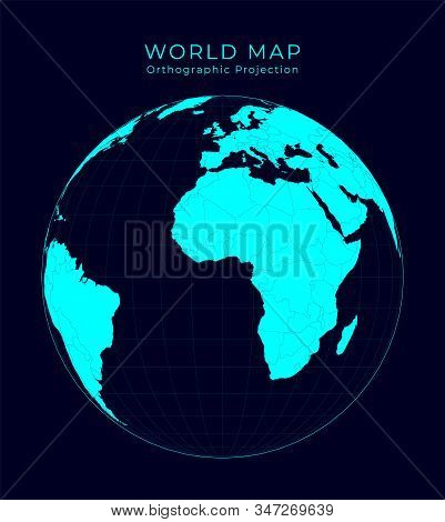 Map Of The World. Orthographic Projection. Futuristic Infographic World Illustration. Bright Cyan Co