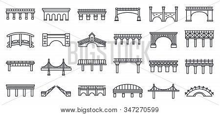 Bridges Construction Icons Set. Outline Set Of Bridges Construction Vector Icons For Web Design Isol