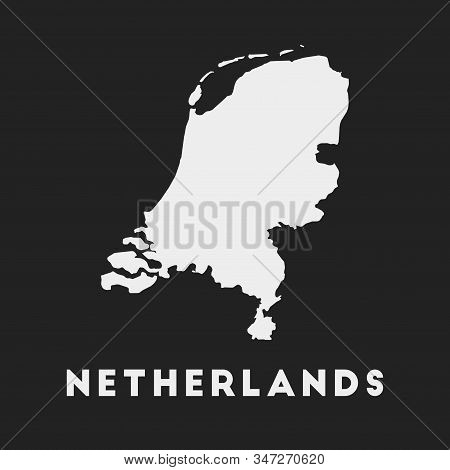 Netherlands Icon. Country Map On Dark Background. Stylish Netherlands Map With Country Name. Vector