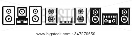 Home Stereo System Icons Set. Simple Set Of Home Stereo System Vector Icons For Web Design On White