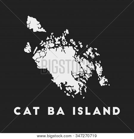 Cat Ba Island Icon. Island Map On Dark Background. Stylish Cat Ba Island Map With Island Name. Vecto