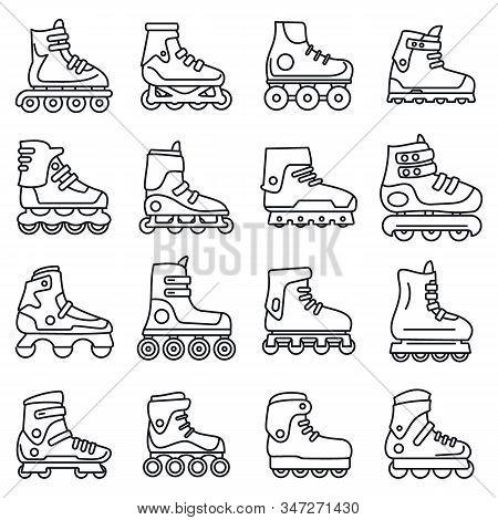 Sport Inline Skates Icons Set. Outline Set Of Sport Inline Skates Vector Icons For Web Design Isolat