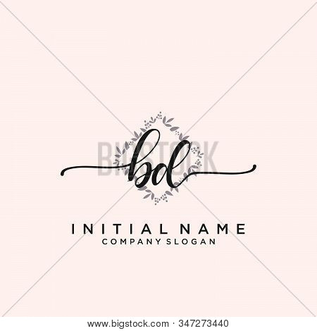 Bd Letter Initial Beauty Monogram And Elegant Logo Design, Handwriting Logo Of Initial Signature, We