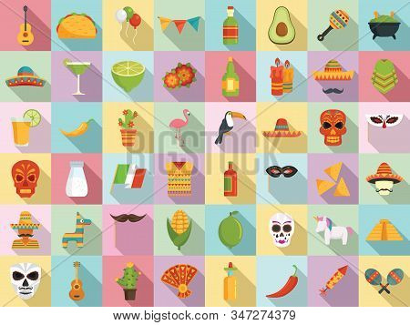 Fiesta Icons Set. Flat Set Of Fiesta Vector Icons For Web Design