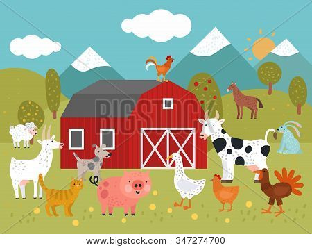 Cartoon Farm. Goat, Cat And Pig, Goose And Chicken, Cow And Dog, Turkey And Rabbit Farm Building Vec