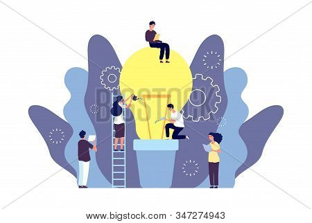 Idea Grows Concept. Team Grows Business Idea Vector Illustration. Creative Men Women Characters, Lam